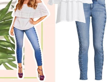 Sofia Vergara's white off-the-shoulder top and side embellished skinny jeans