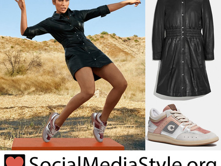 Jennifer Lopez's Coach leather dress and silver and blush sneakers