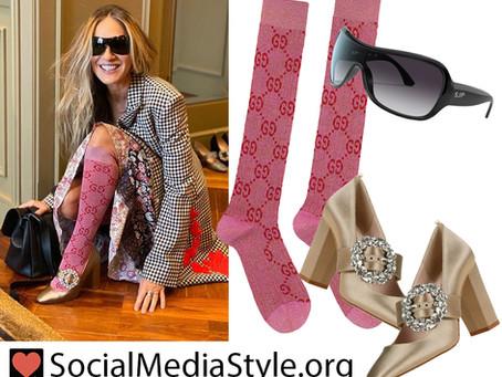 Sarah Jessica Parker's shield sunglasses, pink knee socks, and big buckle pumps