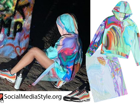 Rihanna's Fenty tie dye hoodie and skirt and Nike Black History Month sneakers