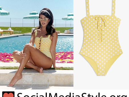 Kourtney Kardashian's yellow polka dot swimsuit