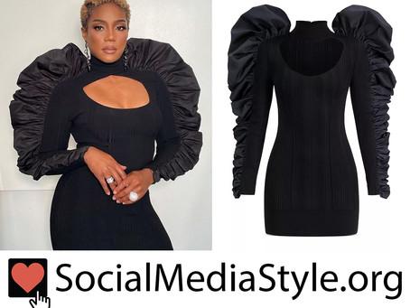Tiffany Haddish's black ruffle shoulder dress from Friday Night Vibes