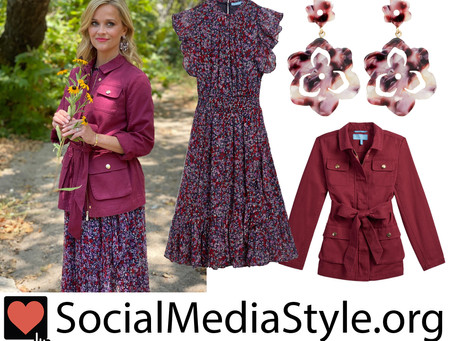 Reese Witherspoon's Draper James flower earrings, berry jacket, and floral print dress