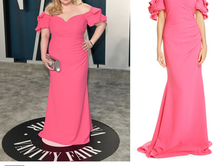 Rebel Wilson's pink off-the-shoulder gown from the 2020 Vanity Fair Oscar Party