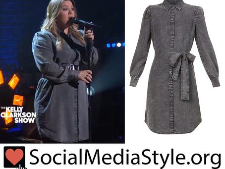 Kelly Clarkson's black denim dress from The Kelly Clarkson Show