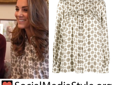 Kate Middleton's printed button up blouse