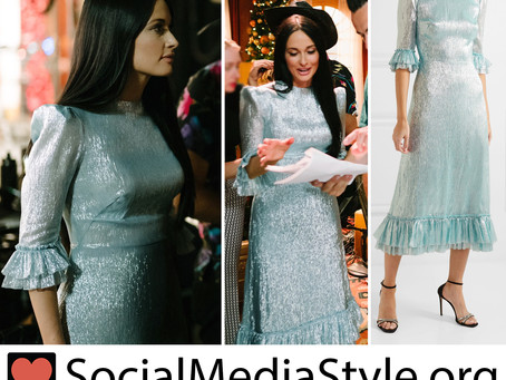 Kacey Musgraves' metallic sky blue bell sleeve dress from The Kacey Musgraves Christmas Show