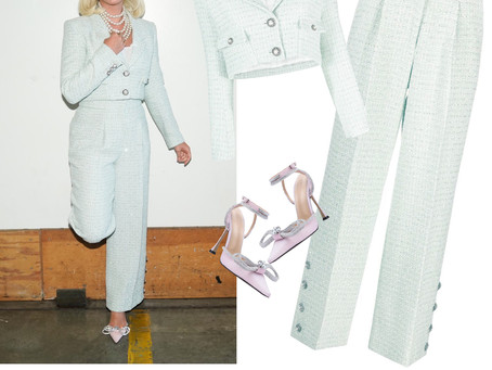 Katy Perry's mint sequin tweed jacket and pants and pink glitter and bow pumps from American Idol