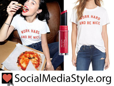"Gal Gadot's red Revlon lipstick and ""Work Hard and Be Nice"" T-Shirt"