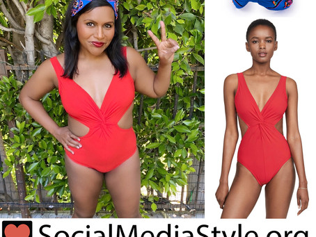 Mindy Kaling's beaded blue headband and red cutout swimsuit