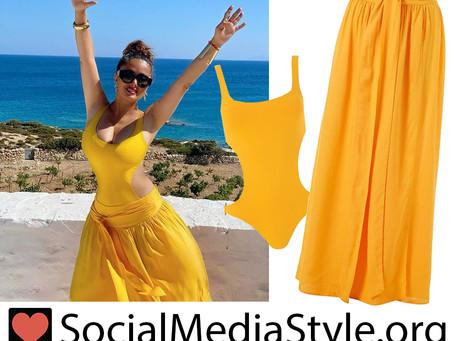 Salma Hayek's yellow cutout swimsuit and matching maxi skirt