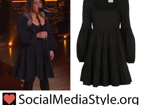 Kelly Clarkson's black balloon sleeve dress from The Kelly Clarkson Show