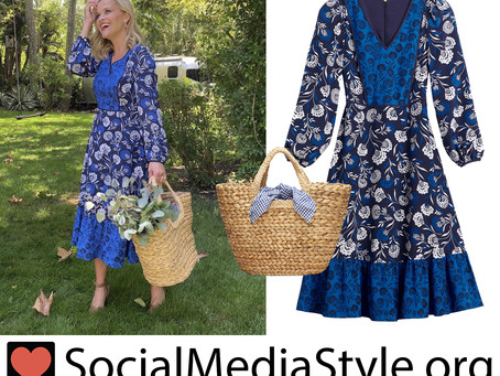 Reese Witherspoon's Draper James blue floral print dress and straw tote bag