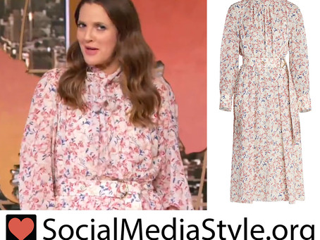 Drew Barrymore's belted floral print dress from The Drew Barrymore Show