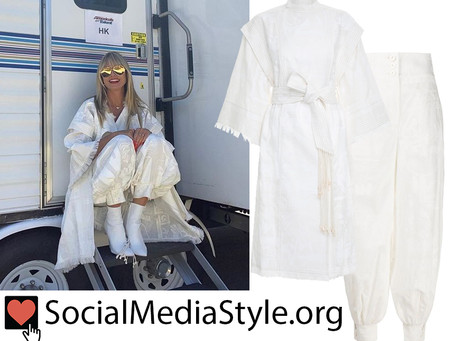 Heidi Klum's white kimono coat and harem pants from America's Got Talent