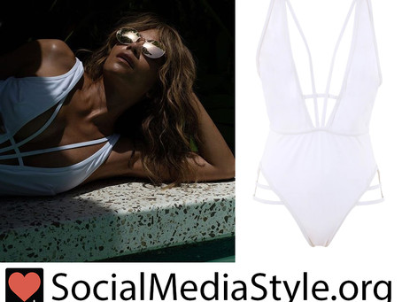 Halle Berry's strappy white caged swimsuit