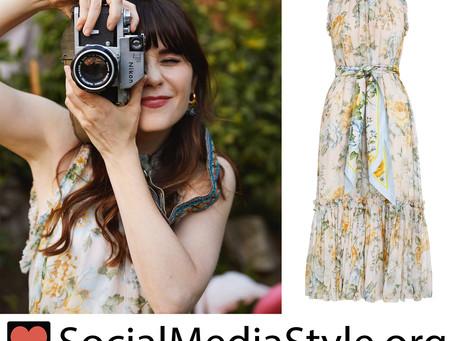 Zooey Deschanel's ruffled floral print dress