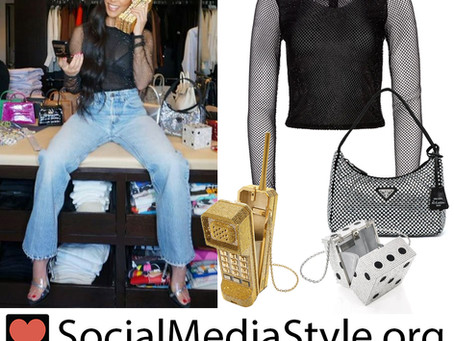 Kourtney Kardashian's crystal embellished mesh top and fun purses