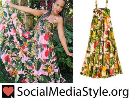 Kerry Washington's ruffled tropical print dress
