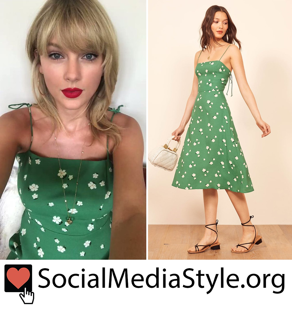 Taylor Swift S Green Floral Print Dress