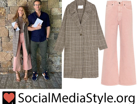 Blake Lively's houndstooth coat and pink jeans