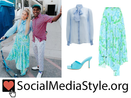 Meghan Trainor's blue neck tie blouse, floral print skirt, and blue mules from Top Chef Family Style
