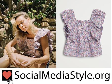 Brie Larson's ruffled floral print top