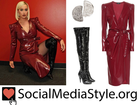 Katy Perry's burgundy latex dress, moon earrings, and thigh high boots from American Idol
