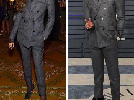 Zendaya and Michael B. Jordan's grey marbled suits