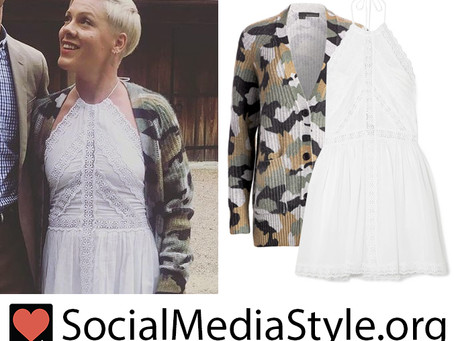 Pink's camo cardigan and white lace trim halter dress