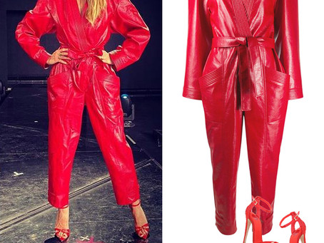 Heidi Klum's red faux leather jumpsuit and sandals
