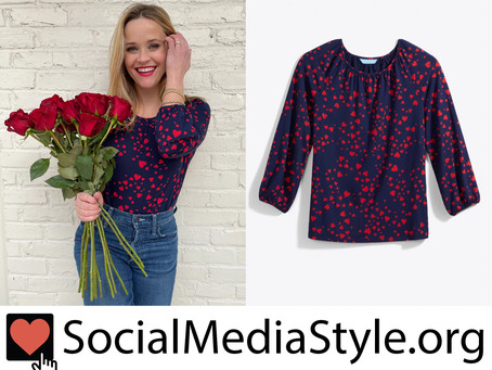 Reese Witherspoon's Draper James heart print shirt