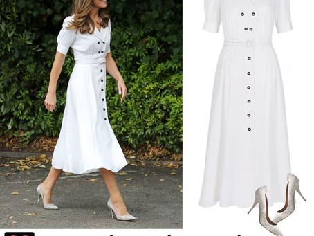 Kate Middleton's white shirt dress and lizard skin pumps