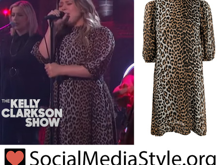 Kelly Clarkson's leopard print puff sleeve dress from The Kelly Clarkson Show