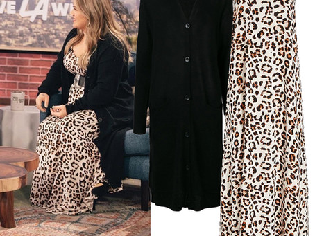 Kelly Clarkson's leopard print dress and black long cardigan from The Kelly Clarkson Show