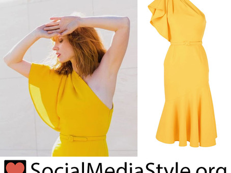 Jessica Chastain's yellow one shoulder dress