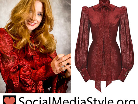 Jessica Chastain's red metallic dress