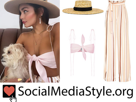 Vanessa Hudgens' straw hat, knotted bra top, and striped pants