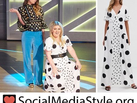Kelly Clarkson's black and white polka dot dress from The Kelly Clarkson Show