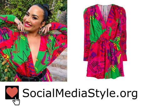 Demi Lovato's doodle print dress