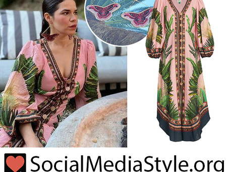 America Ferrera's butterfly earrings and pink tropical print dress