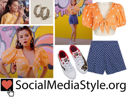 Selena Gomez's polka dot outfit and fun accessories from the Ice Cream video