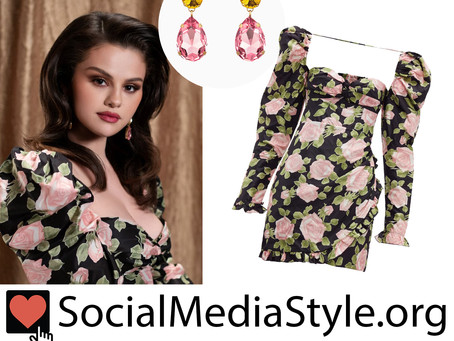 Selena Gomez's crystal earrings and floral print puff sleeve dress from the Selfish Love video