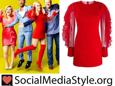 Gwen Stefani's red ruffle sleeve dress