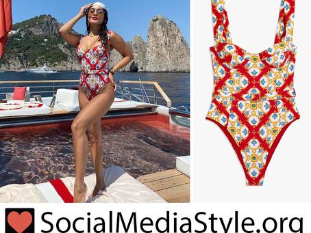 Vanessa Hudgens' red tile print swimsuit