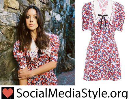 Aubrey Plaza's floral print puff sleeve dress