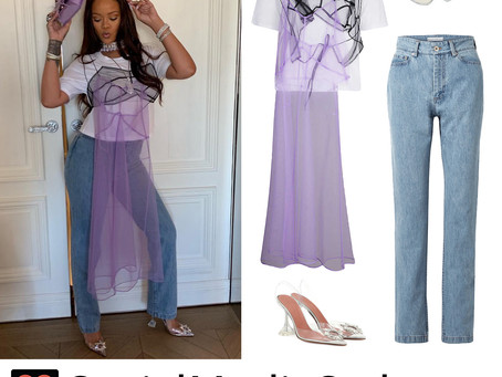 Rihanna's purple tulle embellished t-shirt outfit