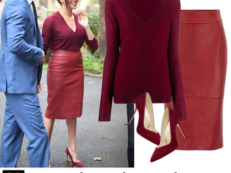 Meghan Markle's burgundy sweater, leather skirt, and pumps
