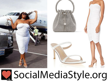 Lizzo's strapless white dress, crystal bag, and white sandals