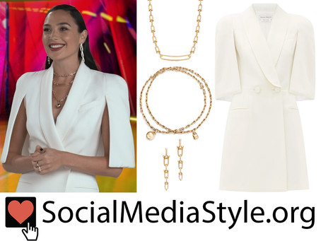 Gal Gadot's white cape dress and gold jewelry from the Wonder Woman 1984 virtual premiere